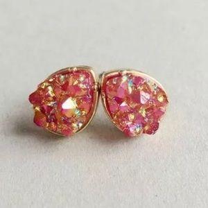 Pink & Gold Geode Teardrop Stud Earrings